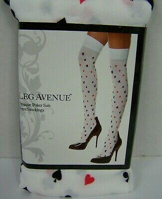 Leg Avenue Poker Suit Thigh Highs Stockings White Cards Halloween Cosplay OS