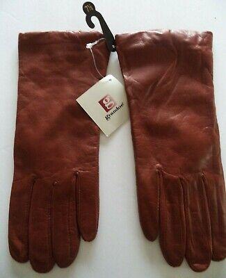 Grandoe {100% Cashmere Lined} Genuine Leather Gloves*,Large, Rust Grandoe Lined Gloves