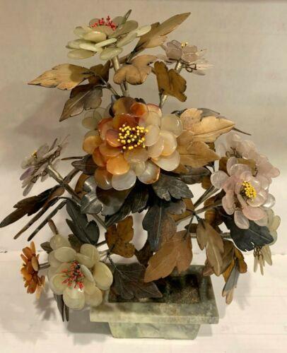 "Vintage Large Jade Agate Rose Quartz Amethyst Stone 14"" Flower Bonsai Tree"