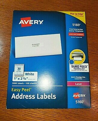 New Sealed 3000 Ct Avery 5160 Easy Peel Laser Address Labels 100 Sheets 30 Per