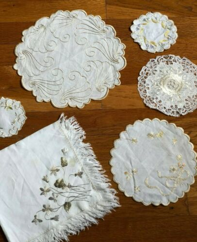 6 antique floral Silk Society Work & lace doilies, hand embroidered