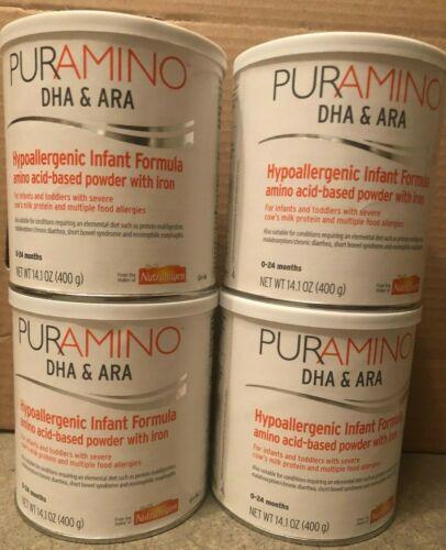 4 Cans Puramino Hypoallergenic Infant Formula 14.1oz EXP 08/2021