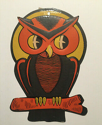 Vintage H.E. Luhrs Halloween Diecut Embossed Owl 1950's