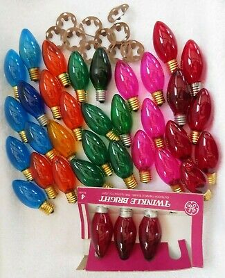 Vintage C9 Christmas Lights 35 Transparent Twinkle Bright Red Blue Green Amber