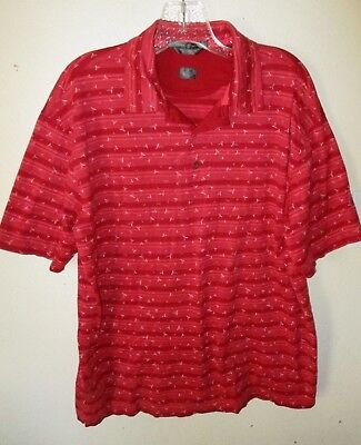 Mens TIGER WOODS GOLF POLO SHIRT Red Striped DOUBLE MERCERIZED SS Sz Large