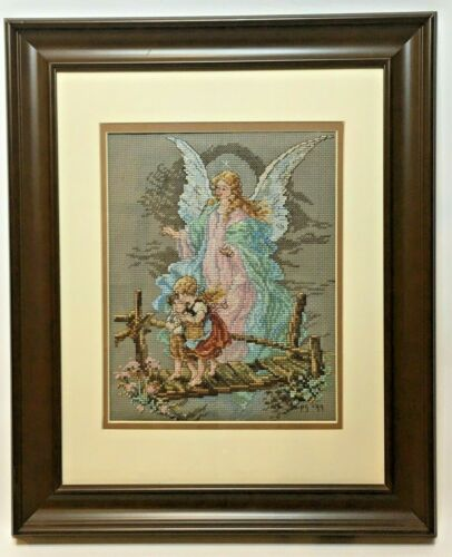 Completed cross stitch embroidery angel children religious colorful spirit 14x17