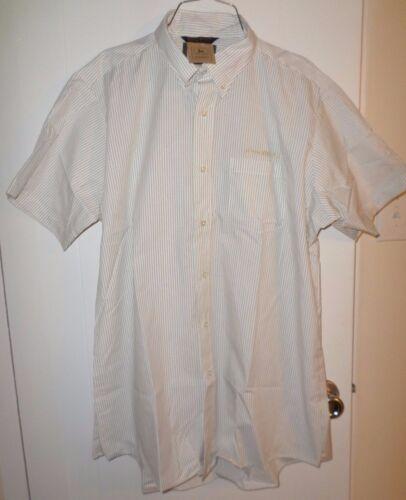 John Deere white w/brown stripes short sleeve button down dress shirt, XL, New!