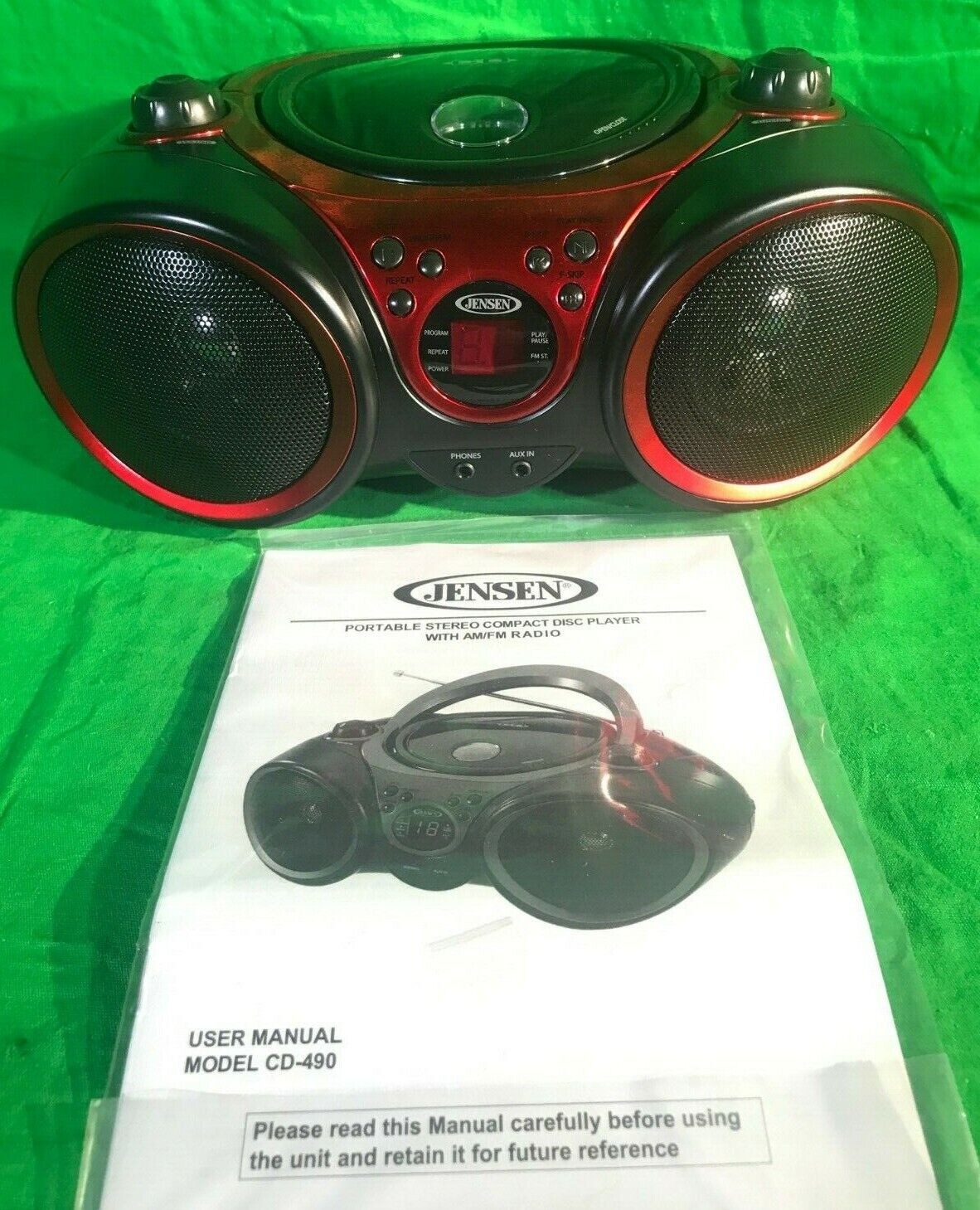 JENSEN CD-490 Portable Stereo CD Player with AM//FM Radio and Aux Line-In Red
