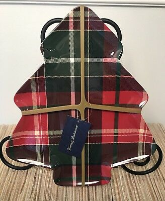 Tommy Bahama Christmas Tree Shape Plaid Melamine Appetizer Plates ~ Set of 4