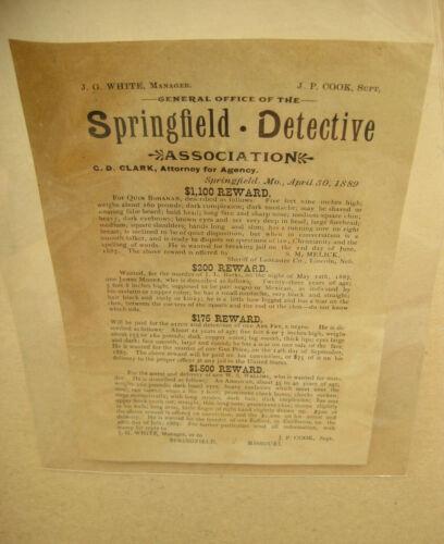 RARE ORIGINAL 1889 REWARD POSTER Wanted Flyer SPRINGFIELD DETECTIVE AGENCY