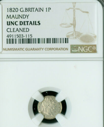 1820 GREAT BRITAIN MAUNDY PENNEY NGC MINT STATE UNCIRCULATED   ..