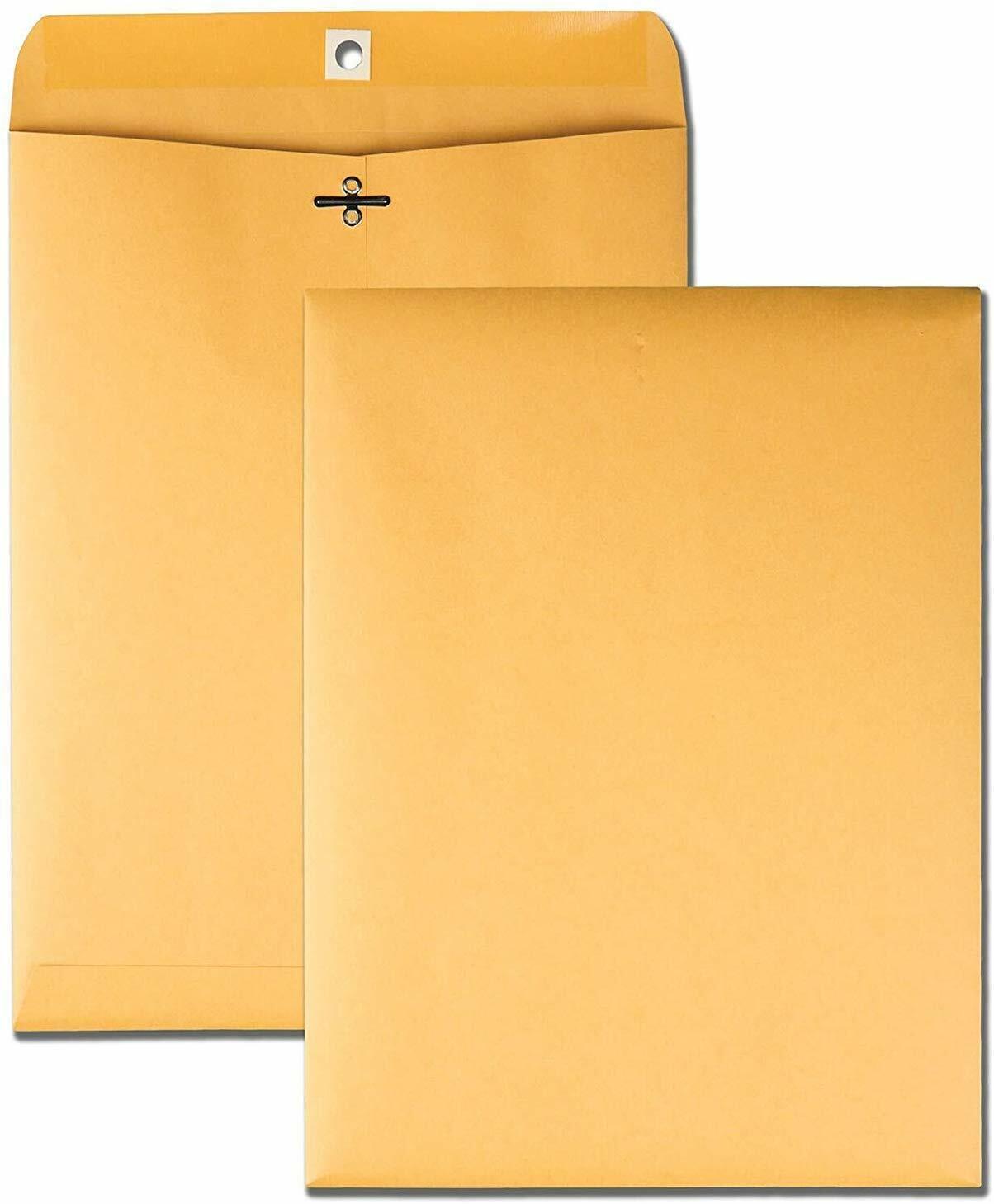 Brown Kraft Catalog Clasp Envelopes, Gummed Seal, 10 x 13, 2