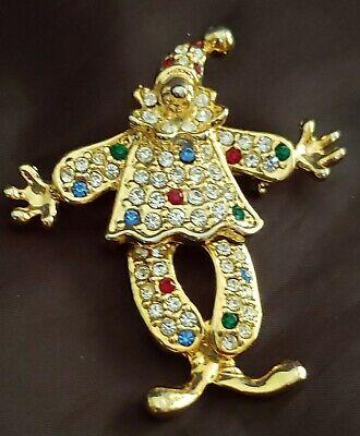 Swarovski Crystal Articulated Clown Scatter Pin/Brooch