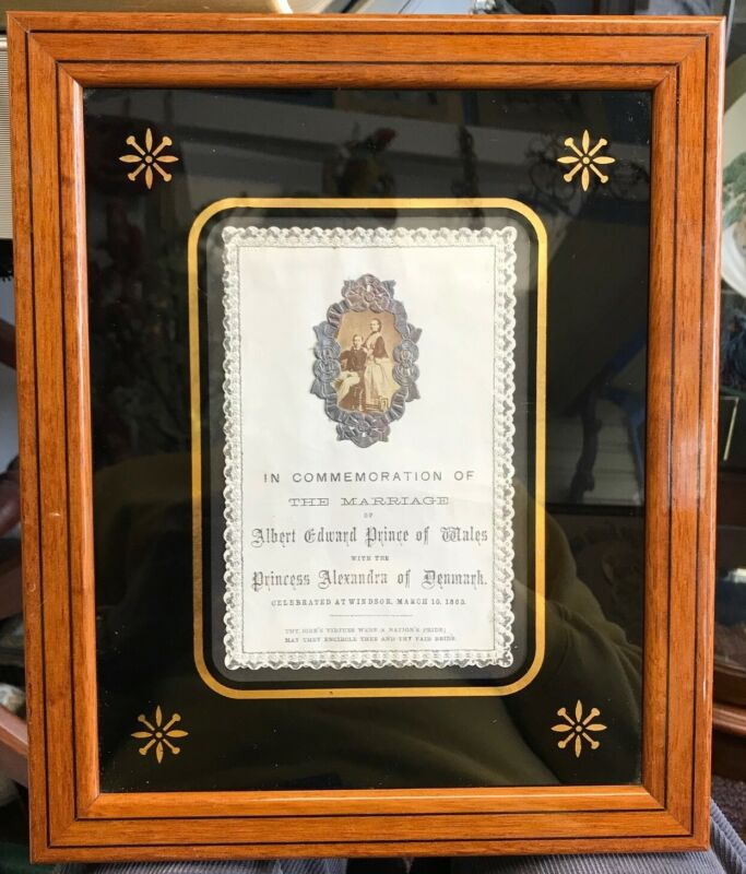 Framed 1863 Announcement Albert Prince of Wales and Alexandra Wedding