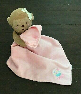Carters Pink Monkey Baby Lovey Plush Rattle Sweet Cupcake Holding Blanket ](Pink Safari Cupcakes)