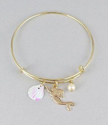 (Mermaid bracelet shell faux pearl bangle expandable thin skinny bangle gold)