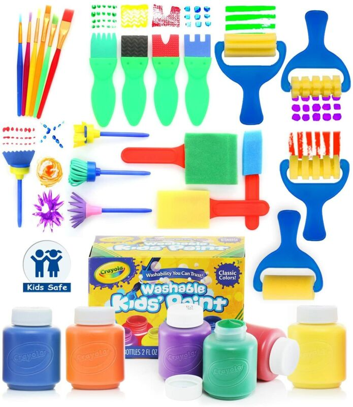 Glokers Early Learning Kids Paint Set, 28 Piece Paint Brushes With Crayola Paint