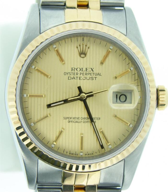 Rolex Datejust Mens 2tone 18k Gold & Stainless Steel Jubilee Band Tapestry 16013