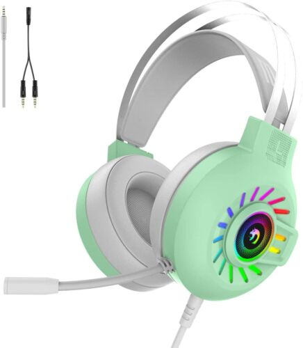 Gaming Headset 3.5mm Stereo Wired Headphone with RGB Rainbow Backlit for PS4 PC