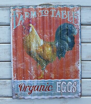 FARM TO TABLE ... EGGS Farmhouse Rooster Rustic Kitchen Corrugated METAL SIGN
