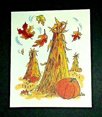 Vintage *UNUSED*  Halloween Tally Card: Corn Stalks, Pumpkins, Falling Leaves