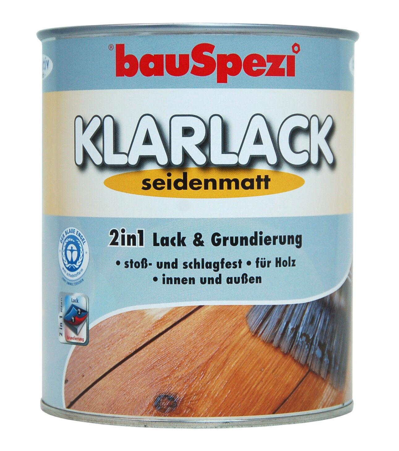 bauspezi 2in1 klarlack seidenmatt 750 ml farblose versiegelung holz