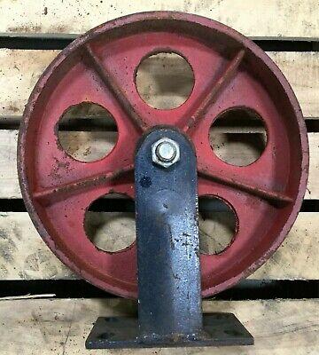 12 Cast Iron Caster Wheel W Non Swivel Mount
