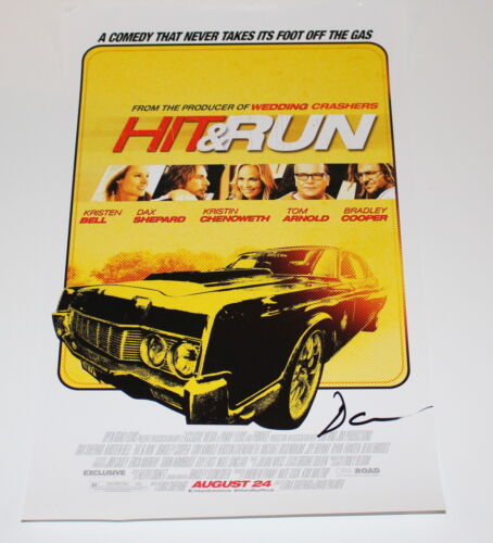 """DAX SHEPARD SIGNED AUTHENTIC 'HIT & RUN"""" 11X17 MOVIE POSTER w/COA ACTOR"""