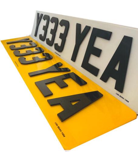 Car Parts - Pair 4D Number Plates Font & Rear 4D 3D Lazer Cut Raised Gloss Black 100% Legal