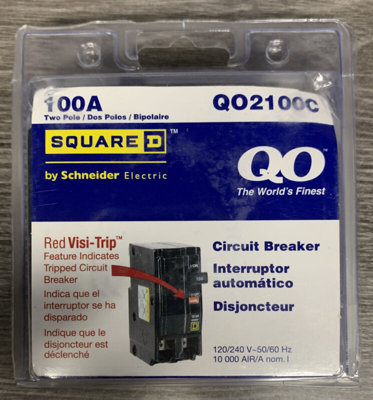 Square D QO 100 Amp Two Pole Circuit Breaker - (Model Q02100C) new