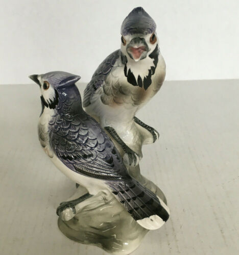 Vintage figurine pair of blue jay birds  collectors choice made in Japan