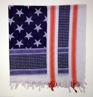 Shemagh USA RED WHITE & BLUE Heavyweight USA FLA Tactical Desert Keffiyeh Scarf