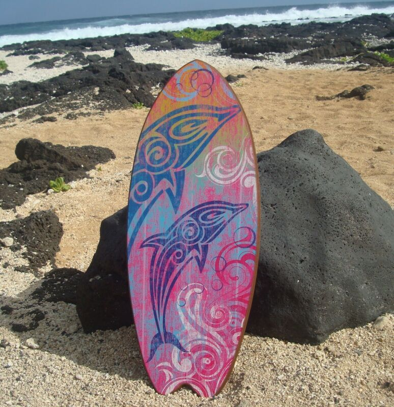 LARGE TRIBAL DOLPHINS SURFBOARD Ocean Blue & Hot Pink Beach Sign Home Decor NEW