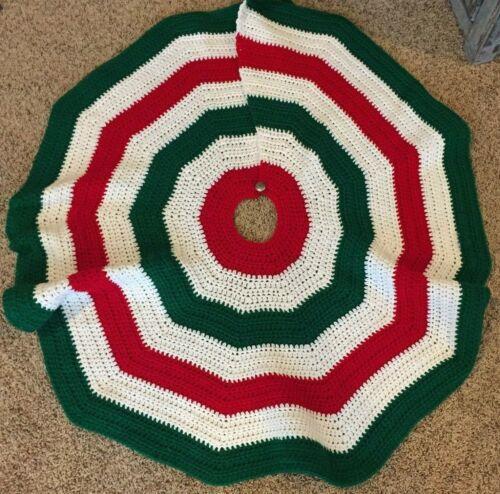 Vintage Crocheted Hand Knit Handmade Christmas Tree Skirt Red White Green Boho