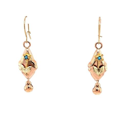 10k Rose Gold Victorian Genuine Natural Turquoise Drop Earrings (#J4877)