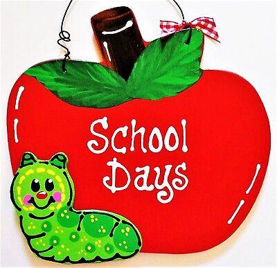 School Days APPLE TEACHER SIGN Wall Art Plaque Classroom Aide Class Door Hanger (Classroom Door)