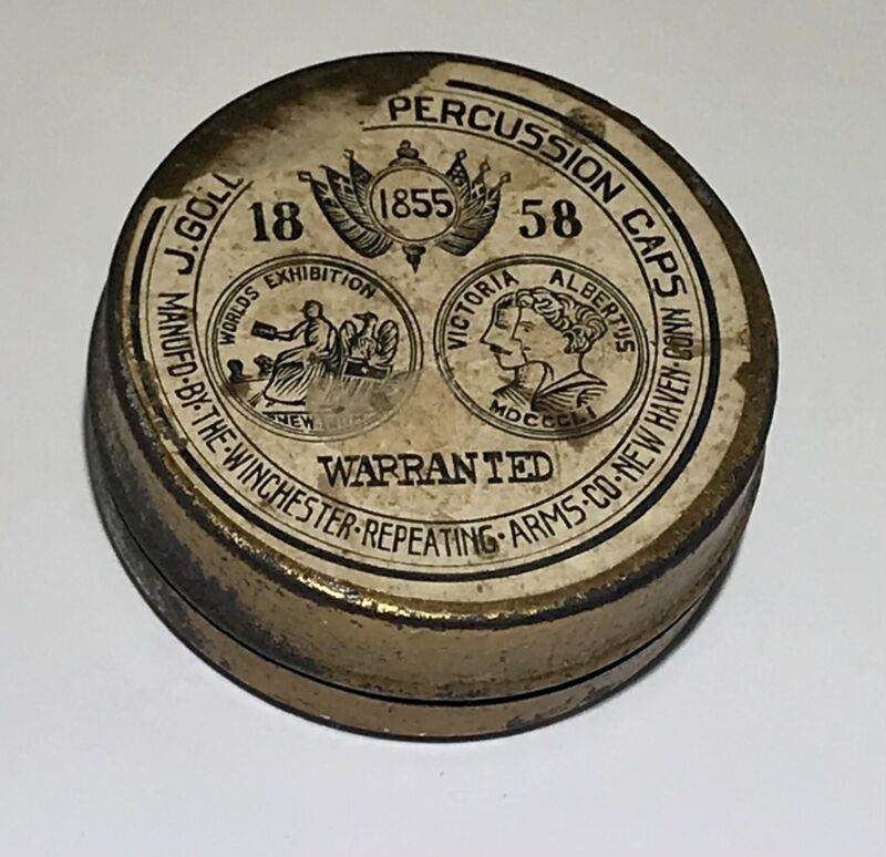 Antique Tin Dated 1858 WINCHESTER J Goldmark PERCUSSION CAPS New Haven, Conn