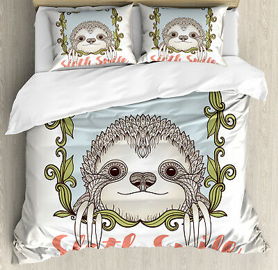 Sloth Duvet Cover Set with Pillow Shams Cute Animal Floral F
