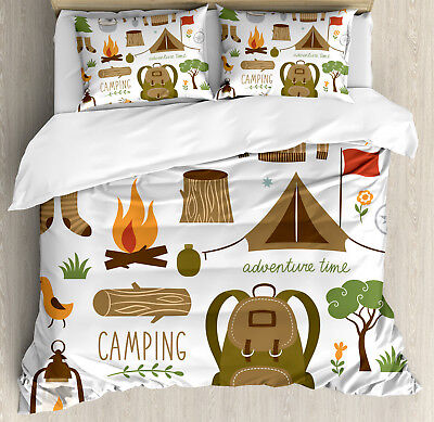 Adventure Duvet Cover Set with Pillow Shams Camping Equipmen