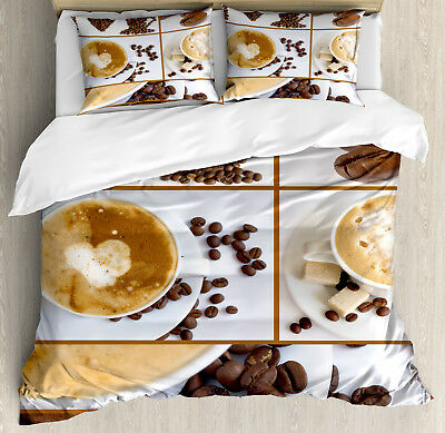 Coffee Duvet Cover Set with Pillow Shams Coffee Mugs Hot Foa