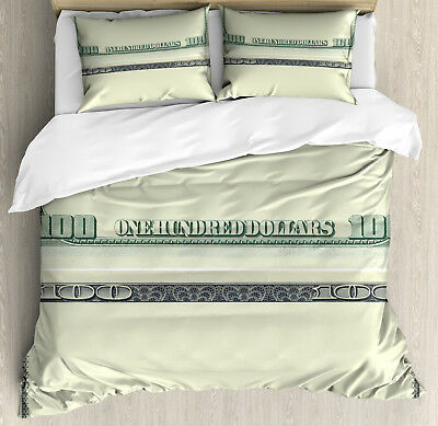 Money Duvet Cover Set with Pillow Shams Dollar Bill Frame Pa
