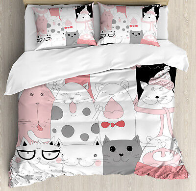 Doodle Duvet Cover (Cat Duvet Cover Set with Pillow Shams Funny Kittens Humor Doodle)