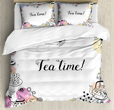 Tea Party Duvet Cover Set with Pillow Shams Cute Doodle Fram