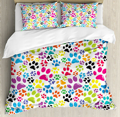Colorful Duvet Cover Set with Pillow Shams Cartoon Dog Paw T