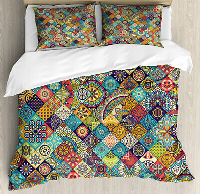 Bohemian Duvet Cover Set with Pillow Shams Checkered Folk Pr