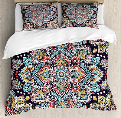 Ethnic Duvet Cover Set with Pillow Shams Ethnic Vintage Boho