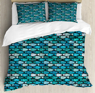 Fish Pattern Duvet Cover Set Twin Queen King Sizes with Pill