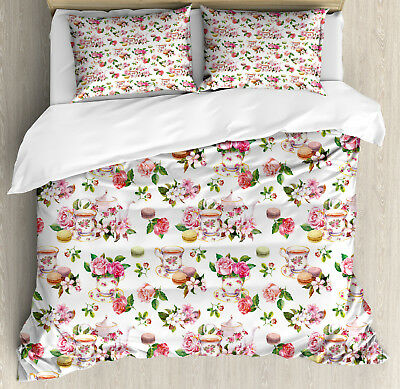 Vintage Duvet Cover Set with Pillow Shams Colorful Antique T