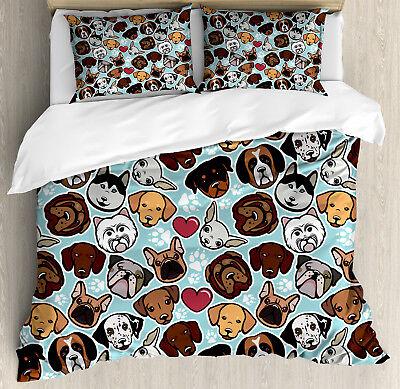 Dog Lover Duvet Cover Set with Pillow Shams Canine Breeds Lo