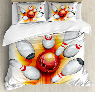 Bowling Duvet Cover Set with Pillow Shams Red Ball Spread Pi